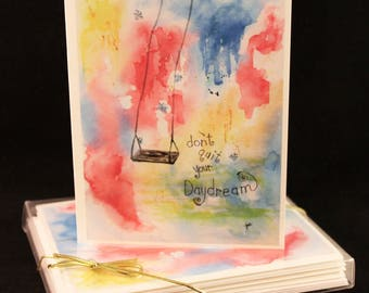 Don't Quit your daydream Original Watercolor PRINT Note Card Set, Watercolor Cards, Inspirational Cards,   Multi Color Cards