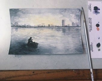Original City Scape Watercolor Painting