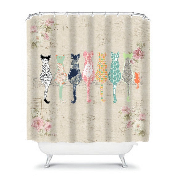 Cat Shower Curtain Shabby Chic Cats Bathroom Decor Rose Art