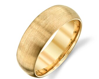 14k Yellow Gold Band (7mm)   PLAIN   Matte Brushed Rounded Dome + Comfort Fit   Men's Women's Wedding Ring