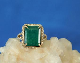 6.44 ct. Emerald Cut Columbian Emerald and Diamond Ring 14k Rose Gold