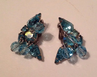 Vintage Kramer Clip Earrings Aurora  Borealis Aquamarine Dangles