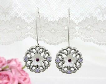 Purple wedding earrings, Purple wedding, Wedding earrings, Purple and silver earrings, Purple earrings, purple silver wedding