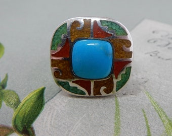 CAROLYN POLLACK Relios Sterling Silver Turquoise & Mosaic Ring Size 9    PP12