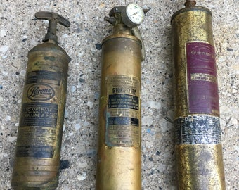 VINTAGE, Brass Fire Extinguisher, Circa 1930s. Listing is for one