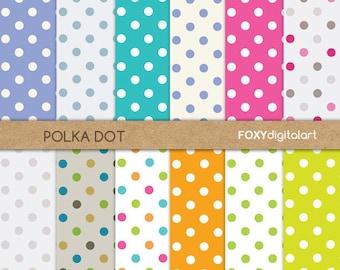 Polka Dot Digital Paper, Scrapbook Paper Pack, Printable Scrapbook Paper, Digital Download, Commercial Digital Paper, Invitations- DP23