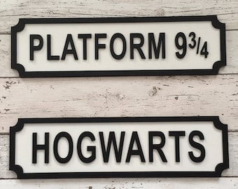 Harry Potter Inspired Gift Platform 3/4 or Hogwarts Street Sign Birthday Present Home Decor