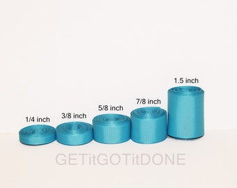 Turquoise Grosgrain Ribbon 5 yards (You choose the width, 1/4, 3/8, 5/8, 7/8 or 1.5 inch)