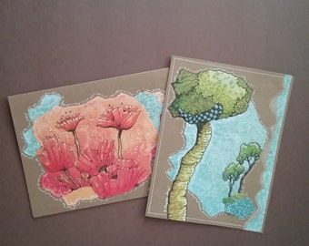 Art Cards of tree and flower.pen and ink, drawing,color pencil,card.