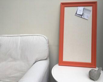 Large orange memo board Orange notice board Orange bulletin board. Fabric pin board Orange message board. Linen cork board. Linen pin board.