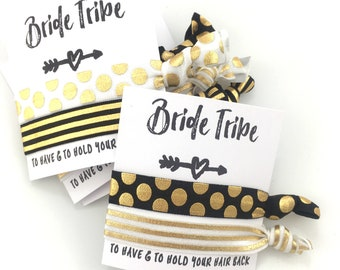 Black + White + Gold Bachelorette Party | Bridesmaid Proposal | Will You Be My Bridesmaid | Bachelorette Party, Bridesmaid Hair tie Favors