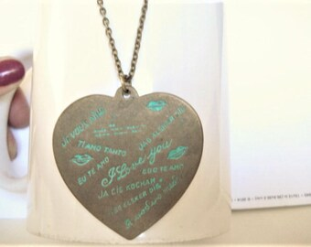 I Love You Necklace Brass Heart Necklace I Love You Heart Necklace Multi Languages I Love you Necklace Heart Pendant Brass Heart Necklace