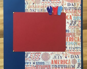 4th of July 12x12 Premade Scrapbook Layout Page, Independence Day, USA, Patriotic, Fireworks, Parade, Kids, red white blue, America