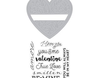 Sale Hero Arts Floral Heart Stamp & Cut by Lia DC176 heart die,  valentine, love, amore, smitten, be mine, scrapbook, stamp, papercraft