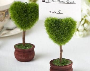 1 x Beautiful Heart-Shaped Design Topiary Place Card Holders, Wedding Table Seating Name Cards