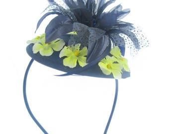 Navy and yellow flower hatinator headband, on juliet cap,weddings, Races,Ladies day