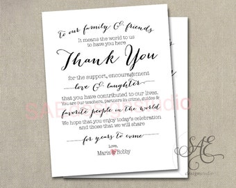 Reception thank you etsy custom names wedding day reception thank you menu size table cards do it yourself printable 425 x 55 menu card diy print 4 per page solutioingenieria Images