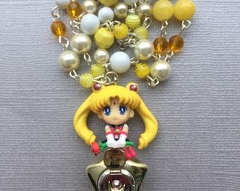 Sailor Moon & Star Locket // Sailor Moon // Beaded Necklace