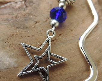 Bookmark, bookmark. Star Midnight Blue Crystal beads, and metal stars