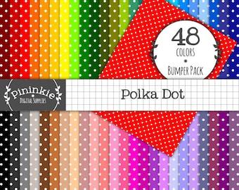 Letter Size Polka Dot Digital Paper - INSTANT Download - Digital Scrapbook Paper  - 8.5x11 - Commercial Use (Cu) - Digital Pape