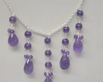 AAA Amethyst Gemstone Necklace, Birthstone Necklace, Designer Necklace, Girls Womens Necklace, Silver Necklace