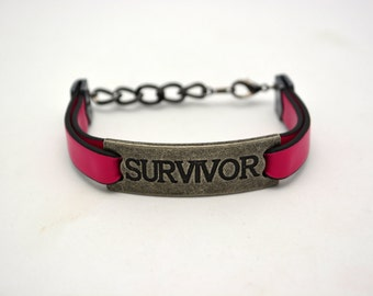 "Holiday Jewelry SALE. Hot Pink Survivor Bracelet. Hot Pink Faux leather w/ Pewter ""Survivor"" link. Handmade Awareness Jewelry Breast Cancer."