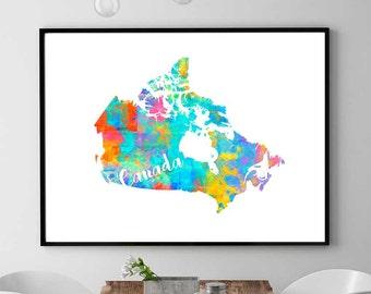 Canada Map, Canada Printable Map, Canada Wall Art Decor, Watercolor Print, Canada Gift, Digital Download