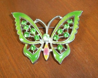 Vintage Groovy Green Butterfly Green Gems Large Pin Brooch