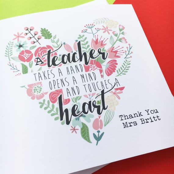 Personalised Teacher Card Thank You Teacher End Of Year