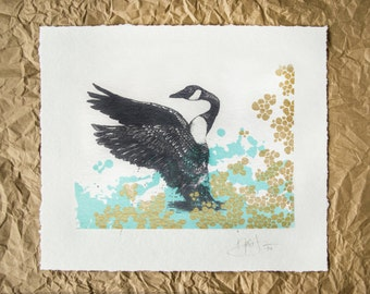 Hand Screen Printed Art Print // Canada Goose