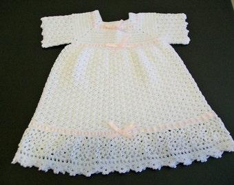 Crochet Baby Dress, White Baby Dress, Handmade, Custom Made, Cotton