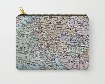 old map of Europe zipped pouches