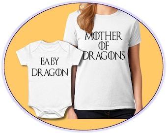 Mother of Dragons Baby Dragon Game of Thrones Mom and Baby Set Outfit,