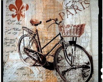 1 Single Decoupage paper Napkins,Bike, Bicykle,Paris,Tissue Paper Napkins for Decoupage,Mix Media,party napkins,Serviettes,Arts paper ,Craft