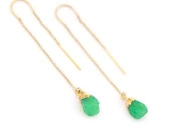Chrysoprase Earrings, Mint Green Threader Earrings, Dainty Gold Threaders, Tiny Crystal Earrings, Raw Gemstone Ear Thread, Bridesmaid Dangle