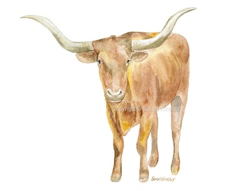 Longhorn Watercolor Painting 7x5 Giclee Print Reproduction - Western Art Cattle Ranch Texas UT