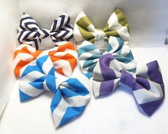 Chevron hair bows, hair clips, hair accessories, fabric hair bows