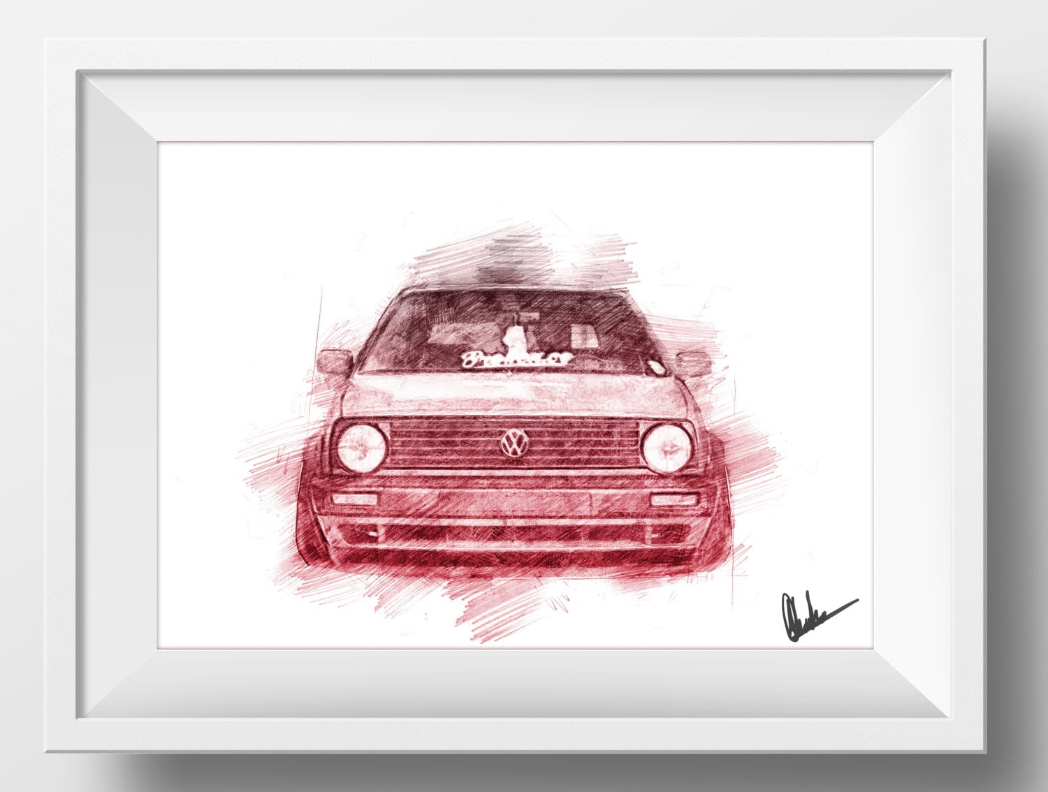 VW Volkswagen Golf MK2 GTI Sketch Drawing Poster A4 Print for