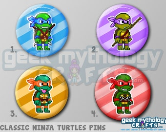 "Ninja Turtles TMNT 80s Classic Pixel Art 1.5"" Pin Buttons or Magnets"