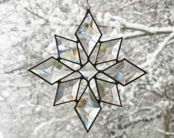 Stained Glass Star Sun Catcher Suncatcher Snowflake Christmas Beveled (9bv Large) Handmade OOAK