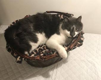 Leopard Print Cat Basket Bed