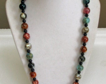 Agate, resin, and leather necklace