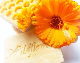 Handmade soap, Milk & Honey soap with Calendula petals, bar soap, goats milk, marigold, natural ingredients, bath soap, rustic soap