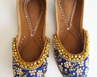 Pearl and Blue Punjabi Jutti - Indian Shoes, Blue Ballet Flats, Blue Slip on Shoes, Indian Jewelry, Indian Saree, Blue Flats with Bells Shoe