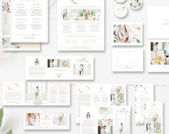 Wedding Photography Marketing Set, Wedding Photographer Branding, Pricing Guide, Trifold Brochure, Mini Sessions - INSTANT DOWNLOAD