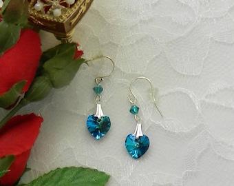 Swarovski Heart earrings Beaded earrings,Beaded Swarovski,Beaded jewelry,Leverback,clip earrings - Crystal Heart Earrings
