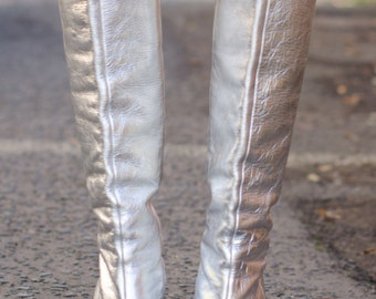 Dolce & Gabbana Silver Leather Knee high Boots