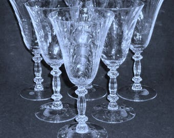 6 Cambridge CAPRICE Water goblets etched optic glasses crystal stemware 3130
