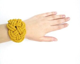 Mustard yellow Rope bracelet Rope knot bracelet