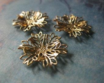4 PC Raw Brass Filigree Flower  - D0095